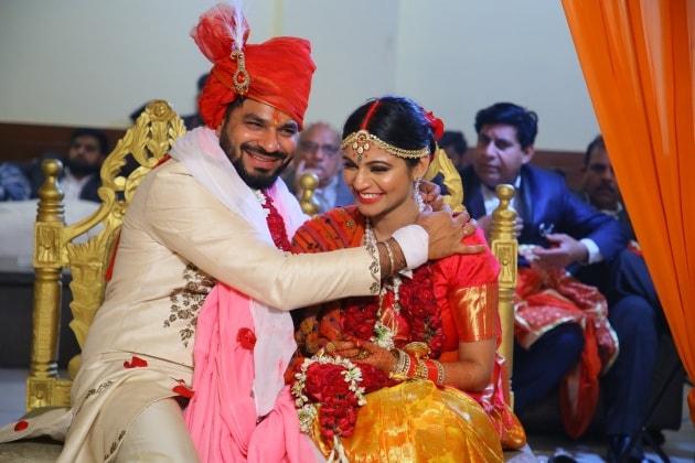 Happy Punjabi wedding couple wedus
